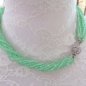 Green multi strand beaded necklace magnetic clasp